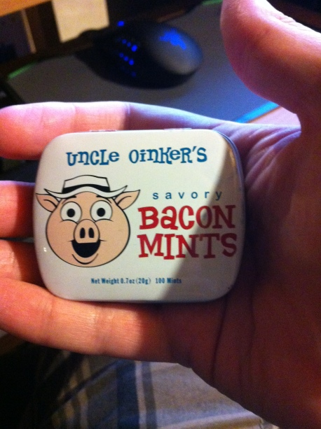 Picture of a tin of Bacon Mints.
